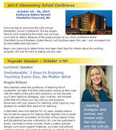 Make plans now to attend the 2015 Elementary School Conference in NC! Angela Watson is the keynote speaker. October 18th - 21st