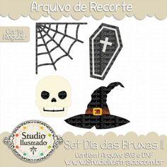 Halloween Set II, Set Dia das Bruxas II, Teia, Web, Caixão, Crânio, Chapéu de Bruxa, Coffin, Skull, Witch's Hat, Corte Regular, Regular Cut, Silhouette, Arquivo de Recorte, DXF, SVG, PNG