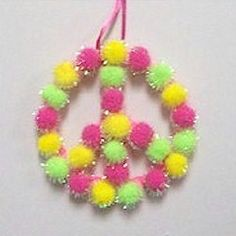 Pom Pom Peace Sign - Kids Craft  September - International Peace Day