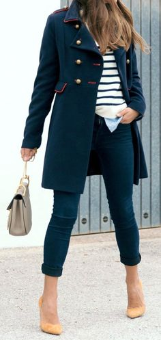 #fall #outfits · Military Blue & Red Coat // Striped Sweater // Pumps // Blue Jeans