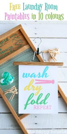 Add some cute to your laundry room with this free laundry room printable art in ten different colours with the saying Wash, Dry, Fold, Repeat!