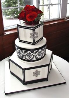 Damask and Crystal Black and White Wedding Cake