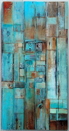 Encaustic Wax on Barn Wood, Micki Buksar Cecil