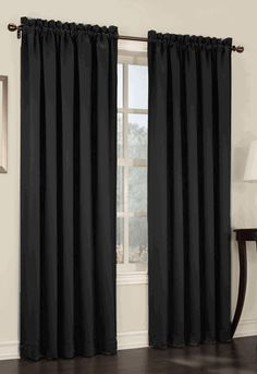 Sun Zero Barrow 54 by Room Darkening Curtain Panel, Black Curtains at Kohl's - Shop our entire selection of window treatments, including this Sun Zero Rod Pocket Curtains, Panel Curtains, Rod Pocket Curtain Panels, Drapes Curtains, Home Decor, Energy Efficient Curtains, Curtains, Black Window Treatments, Room Darkening