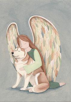 Red Siberian Husky Angel / Lynch signed folk art print #folkart