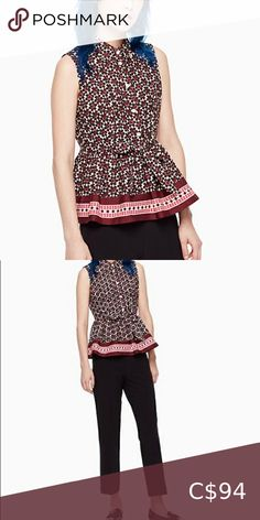 Kate Spade, rambling roses floral tile peplum top Barely worn with almost no signs of wear! Plus Fashion, Fashion Tips, Fashion Trends, White Denim, Red And Pink, Espadrilles, Peplum, Tile, Kate Spade