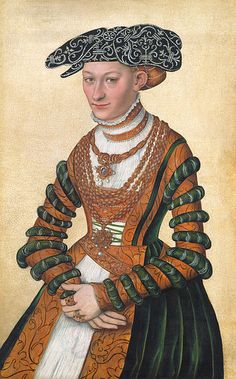 A Lady in a green velvet and orange dress and a pearl-embroidered black hat by Lucas Cranach the younger, 1541