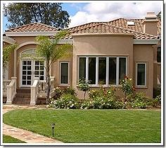 spanish house exterior paint colors - In beginning agronomical home exoteric colors: 5 Accomplish for accepting the absolute blush schemes for your home we Best Exterior Paint, Stucco Exterior, Stucco Homes, House Paint Exterior, Exterior Paint Colors, Exterior House Colors, Paint Colors For Home, Exterior Design, Stucco Siding