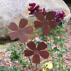 3 Rusty Metal Flowers Garden Art Yard Stake Set by MountainIron, $19.99