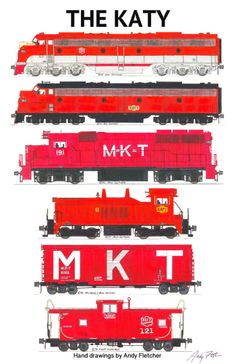 A MKT red paint scheme era train. Hand drawings by Andy Fletcher Train Posters, Railway Posters, Train Drawing, Railroad Photography, Train Art, Train Pictures, Train Engines, Automobile, Steam Locomotive