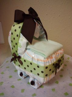 Green & brown diaper bassinet baby shower present/decor