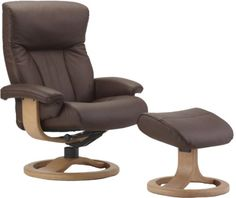 Bon Scandinavian Fjords Scandic Leather Recliner And Ottoman   Norwegian  Ergonomic Scandinavian Reclining Chair In Cacao Soft