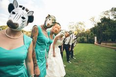 Creepy animal masks for bridal party at a South African wedding