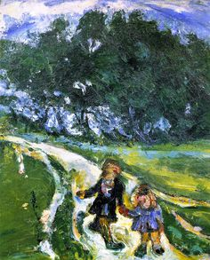 chaïm soutine(1894-1943), road from school, civry, c. 1939. oil on canvas, 45.7 x 38.1 cm. private collection http://www.the-athenaeum.org/art/full.php?ID=56383