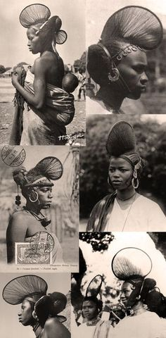 Collection of vintage postcards and photographic prints of the hairstyles worn by the Fula (Fulani/Fulbe) women of Guinea . W Africa .
