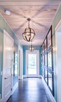 Modern lighting design entry foyer ideas hallway ceiling and. Hallway Ceiling, Hallway Light Fixtures, Hallway Lighting, Home Lighting, Industrial Lighting, Upstairs Hallway, Industrial Style, Lighting Stores, Ceiling Lights