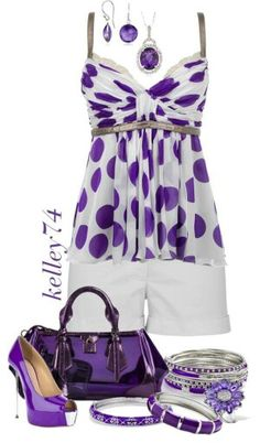 Purple and white outfit.