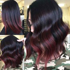 Dark Red Balayage, Red Highlights In Brown Hair, Red Balayage Hair, Short Balayage, Chunky Highlights, Peekaboo Highlights, Ombre Hair, Red Ombre, Red Hair Color