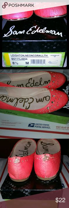Sam Edelman Leather Shoes Leighton, Neon Coral  flat shoes ,gold logo on the back front gold tips some wear but still in good shape , taking reasonable offers Sam Edelman Shoes Flats & Loafers
