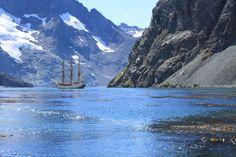Europa in South Georgia Larsen Harbour by Adam & Debbie @ Classic Sailing, via Flickr