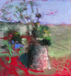 """The Red Table Top. 2015. 14.25"""" x 13.25."""" Pastel, Oil, Compressed Charcoal & Graphite. Casey Klahn."""