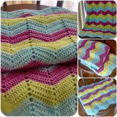 Manta chevron tejida al crochet