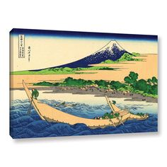 A Fishing Boat With Mt Fuji by Katsushika Hokusai Painting Print on Gallery Wrapped Canvas