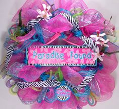 Mesh wreath for summer in pink turquoise and by CustomCreated, $85.00
