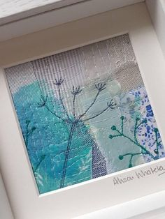 This piece of original textile art depicting cow parsley has been handmade by me, and gives you a truly unique piece of my work for your home or to give as a gift.  To make this textile picture Ive used appliqué and a technique called free motion machine embroidery which is where