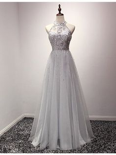 Gray prom dresses,prom dress,prom gowns,Tulle Long Prom Dress