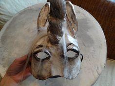 Animal masquerade masks paper mache horse Unicorn by MiesmesaBerni, $75.00