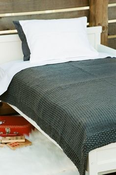 Hand-Made Blanket - Gray Metal Frame with seed stich border. Simple and gorgeous.