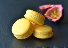 Passionfruit macarons with a white chocolate passionfruit ganache. Puree and powder. Sweet Desserts, Just Desserts, Delicious Desserts, Macarons, White Chocolate, Chocolate Ganache, Macaron Flavors, Macaroon Recipes, Baking And Pastry