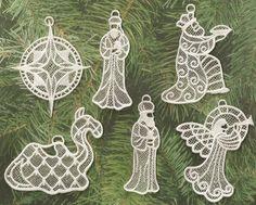 Lace Nativity Ornaments Set 2 by recycledyoyos on Etsy, $15.00