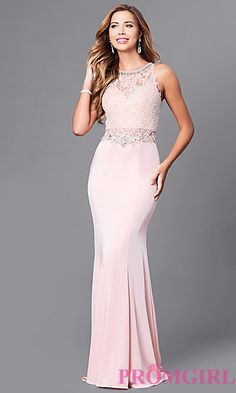 Lace Applique Beaded Bodice Long Prom Dress at PromGirl.com
