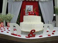 mesa do bolo noivado de D&D