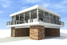 Modern Style House Plan - 2 Beds 1 Baths 930 Sq/Ft Plan #64-178 Exterior - Front Elevation - Houseplans.com