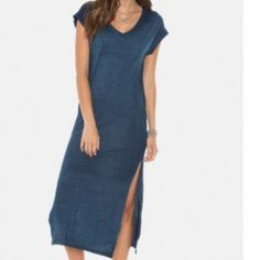 V-Neck Cotton Maxi Dress Arctic Blue