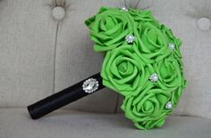 LIME GREEN BRIDESMAID Bouquet with Bling Gem by KimeeKouture
