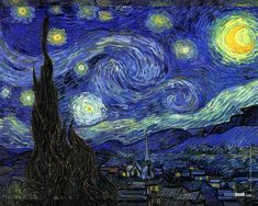 Starry Night by Vincent van Gogh in 1889. The sky as seen outside his sanitorium room window at Saint-Rémy-de-Provence (located in southern France). This painting is housed at the Museum of Modern Art, New York.