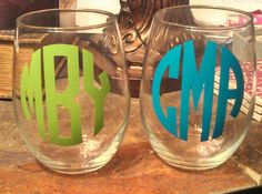 Monogrammed+Stemless+Wine+Glass+by+MSMudpieBoutique+on+Etsy,+$7.50