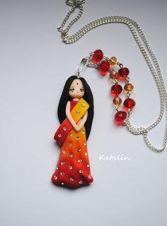 Hindu doll polymer clay fimo necklace. By Katalin Handmade. (2013) #hindu…