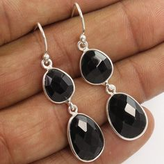 Wholesale Price 925 Solid Sterling Silver Earrings Natural BLACK ONYX Gemstones #Unbranded #DropDangle