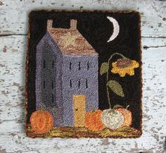 ~Primitive Needle Punch *BLUE SALTBOX, SUNFLOWER & PUMPKINS*~