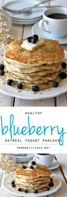 Blueberry Oatmeal Yogurt Pancakes: start your mornings off right with these light and healthy pancakes loaded with juicy blueberries.
