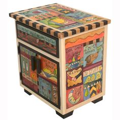 """Sticks creates this artistic one-of-a-kind accent night table, constructed of hard wood. Hand drawn whimsical designs are burnt in, and then painted. * Size: 22""""L. x 16""""W. x 24""""H. * Signed, Dated Anyt"""