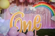 number standee for stage set up Stage Set, Hot Air Balloon, Party Themes, Balloons, Birthday Cake, Rainbow, Clouds, Number, Rain Bow