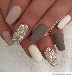 Matte nails with glam glitter