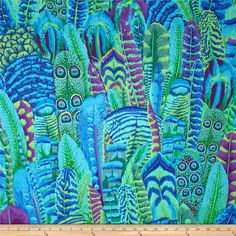 Kaffe Fassett Feathers Green from @fabricdotcom  Designed by Kaffe Fassett for Westminister Fabrics, this cotton  fabric is perfect for quilting, apparel and home decor accents. The colors include purple, blue and green.