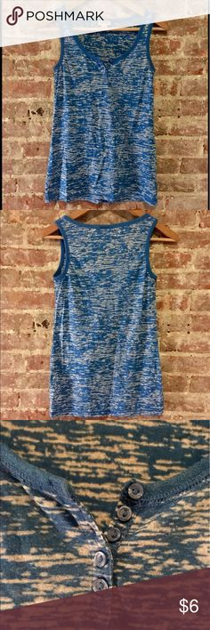 Mossimo Blue and White Burnout Tank Blue and white Mossimo Burnout tank with cute button details at neckline. Cute causal piece for summer to wear with jean shorts and flip flips. Great top to throw over a bikini top for the beach!  In great condition. Mossimo Supply Co Tops Tank Tops
